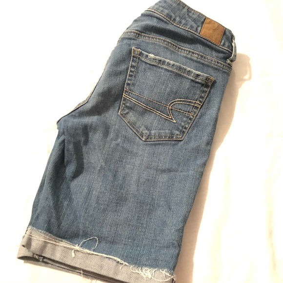 American Eagle Outfitters Pants - American Eagle Stretch Distressed Jean Shorts Blue